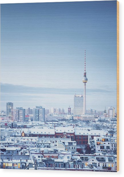 Berlin Winter Cityscape Wood Print by Spreephoto.de