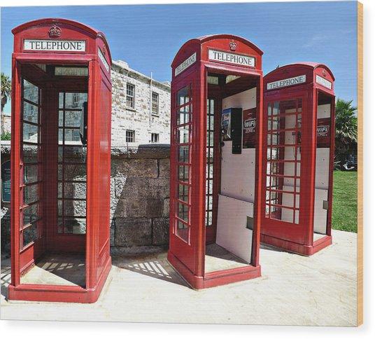 Bermuda Phone Boxes 2 Wood Print