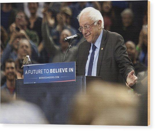 Bernie Sanders Holds Campaign Rally In Portland, Oregon Wood Print by Natalie Behring