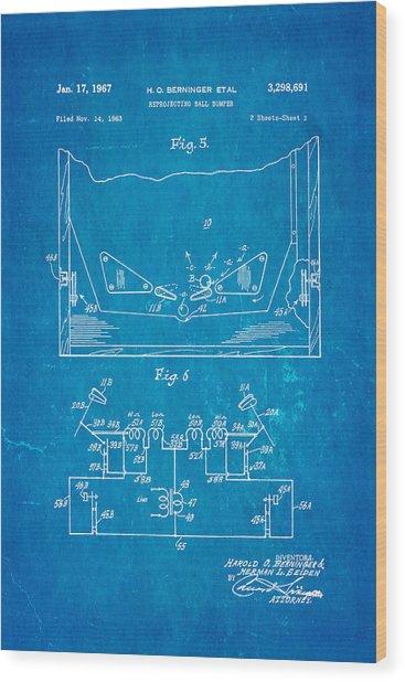 Berninger Reprojecting Ball Bumper 2 Patent Art 1967 Blueprint Wood Print by Ian Monk