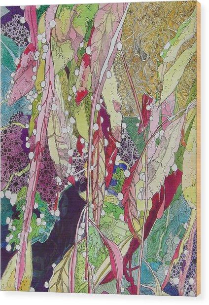 Berries And Cactus Wood Print