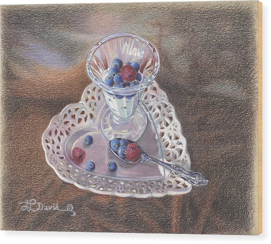 Berries And Cream Wood Print by Lidia Penczar