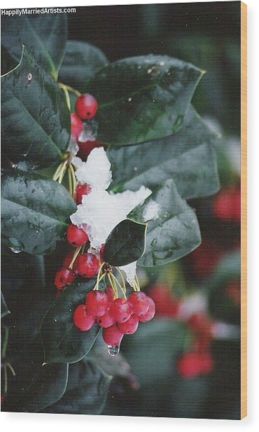 Berries In The Snow Wood Print