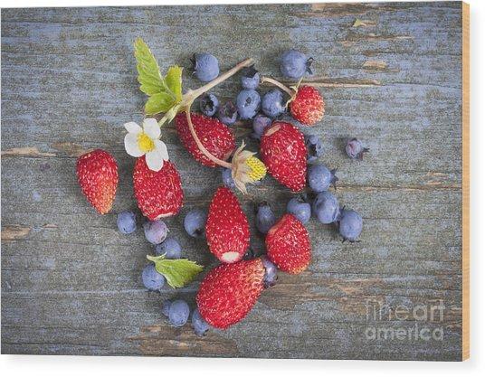 Berries On Rustic Wood  Wood Print