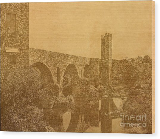Besalu Bridge Wood Print
