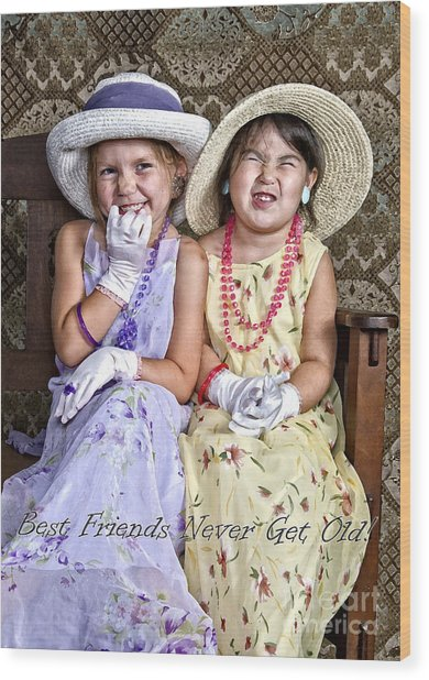 Best Friends Card Wood Print