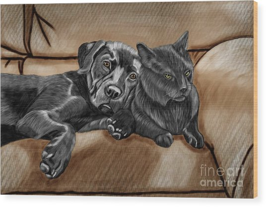 Best Friends Wood Print by Karen Sheltrown