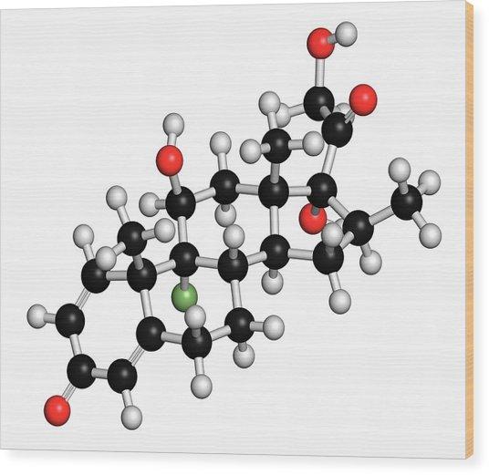 Betamethasone Steroid Molecule Wood Print by Molekuul