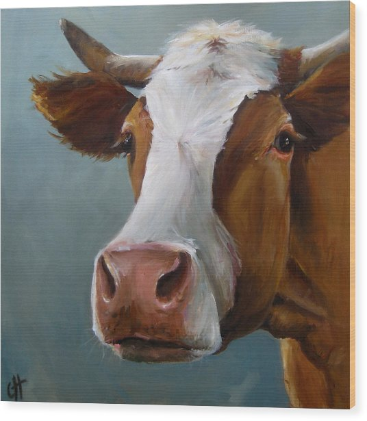 Betsy The Cow Wood Print by Cari Humphry