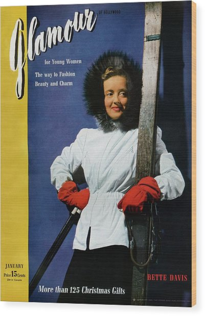 Bette Davis On The Cover Of Glamour Wood Print by John Rawlings