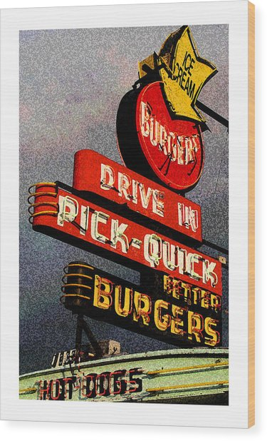 Better  Burgers Wood Print by Gail Lawnicki