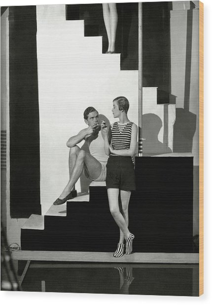Bettina Jones Posing With A Male Model Wood Print