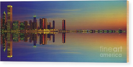 Between Night And Day Chicago Skyline Mirrored Wood Print