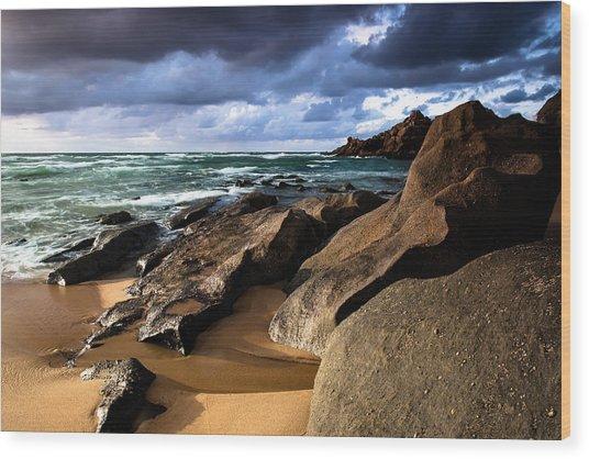 Between Rocks And Water Wood Print