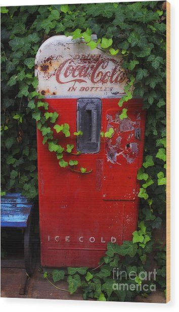Austin Texas - Coca Cola Vending Machine - Luther Fine Art Wood Print