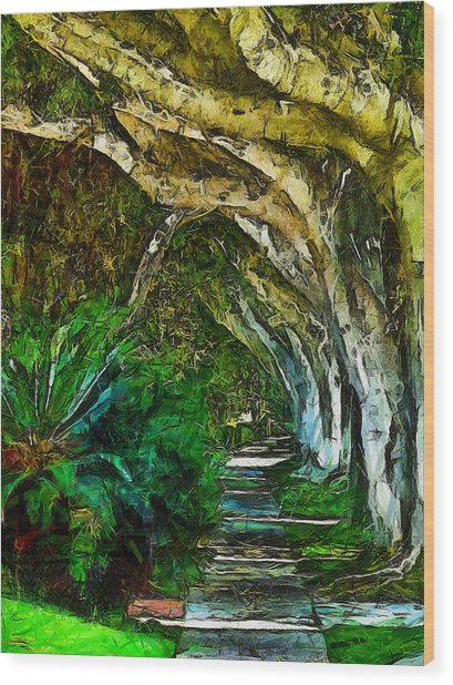 Beverly Hills Jungle Wood Print by Cary Shapiro