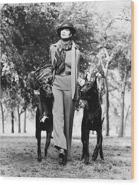 Beverly Johnson Wearing A Jacket And Pants Wood Print