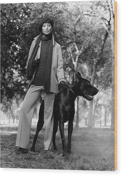 Beverly Johnson With A Dog Wood Print