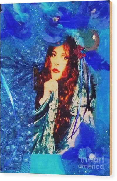 Bewitched In Blue Wood Print