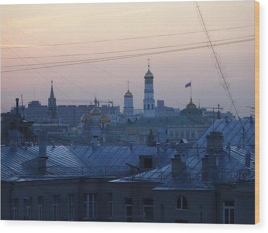 Beyond The Rooftops Wood Print