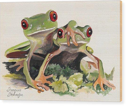 Bff Froggies Wood Print