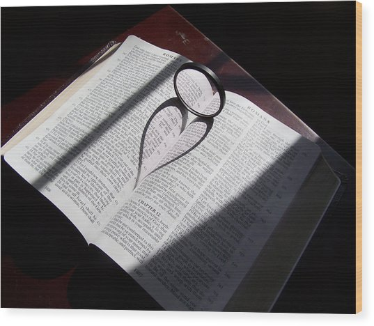 Bible Heart Wood Print by Donnell Carr