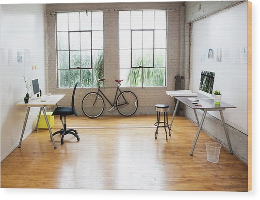 Bicycle And Desks In Modern Office Wood Print by Sam Diephuis