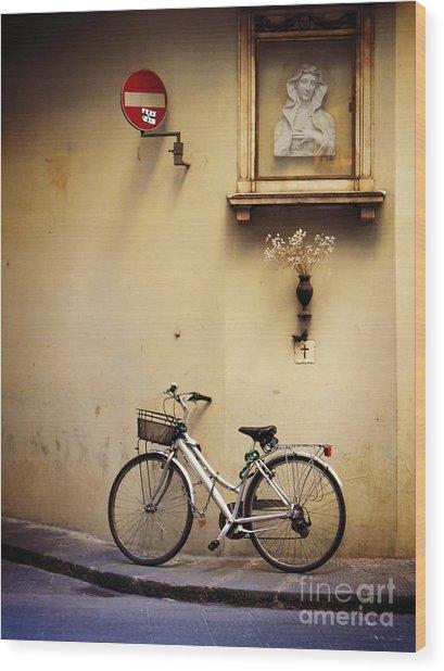 Bicycle And Madonna Wood Print
