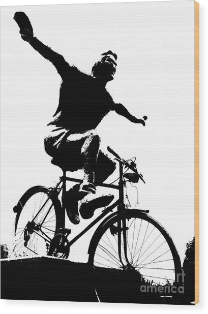 Bicycle - Black And White Pixels Wood Print