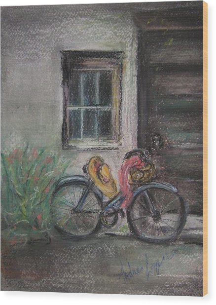 Bicycle By The Door Wood Print by Andrea Flint Lapins