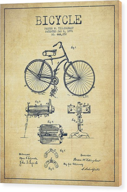 Bicycle Patent Drawing From 1891 - Vintage Wood Print