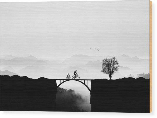 Bicycle Ride Wood Print by Bess Hamiti