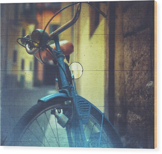Bicycle Seen Through A Vintage Camera Wood Print by Moreiso
