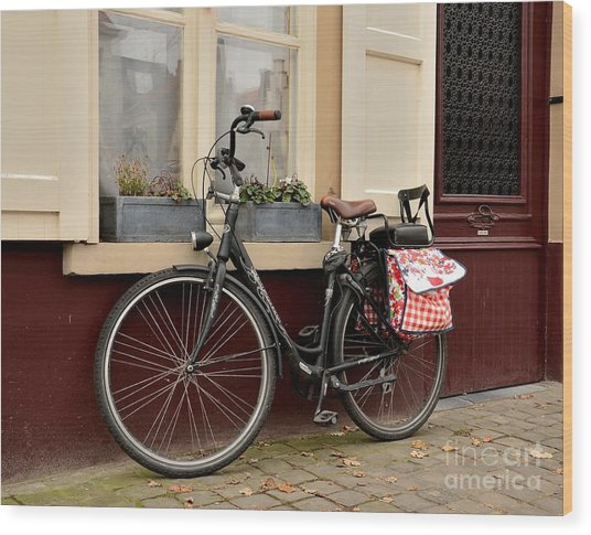 Bicycle With Baby Seat At Doorway Bruges Belgium Wood Print