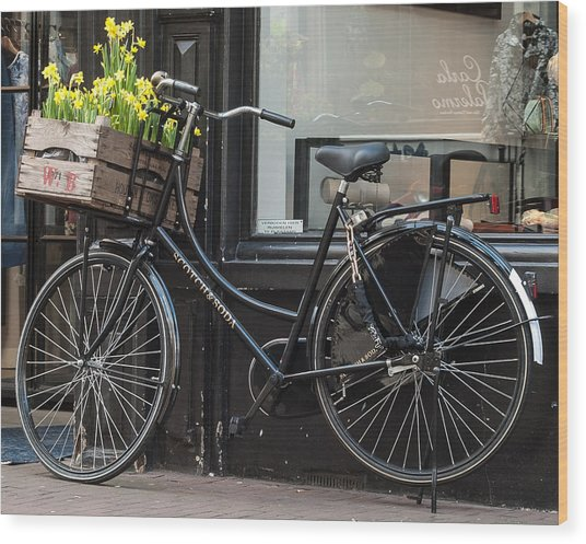 Bicycle With Flowers #1 Wood Print