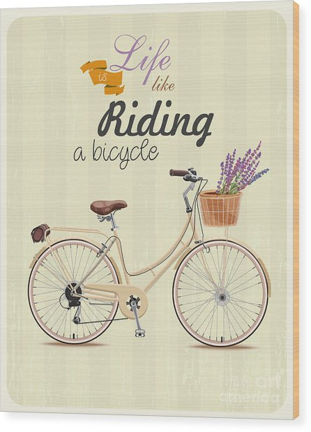 Bicycle With Lavender In Basket. Poster Wood Print by Tatsiana Tsyhanova
