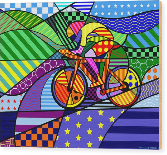 Bicycling Wood Print