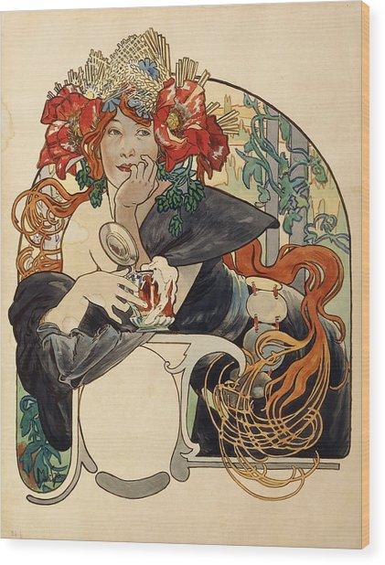 Biere De La Meuse,  Polychrome Gouache On Buffed Paper Wood Print