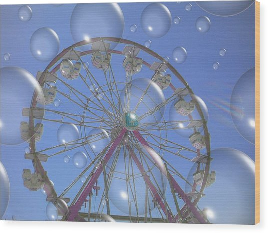 Big B Bubble Ferris Wheel Wood Print