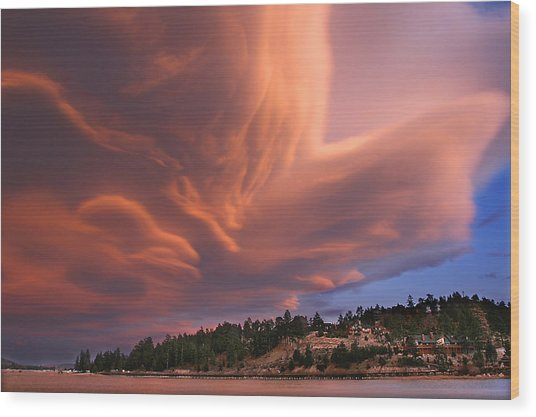 Big Bear Lake Storm Wood Print