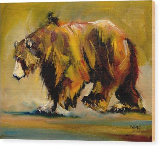Big Bear Walking Wood Print