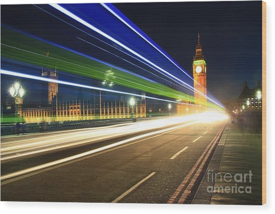 Wood Print featuring the photograph Big Ben And A Bus by Jeremy Hayden