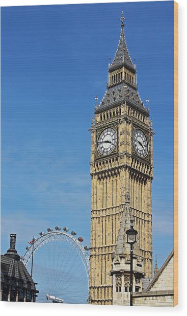 Big Ben And London Eye Wood Print