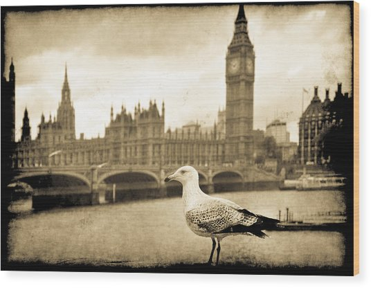 Big Ben And The Seagull Wood Print