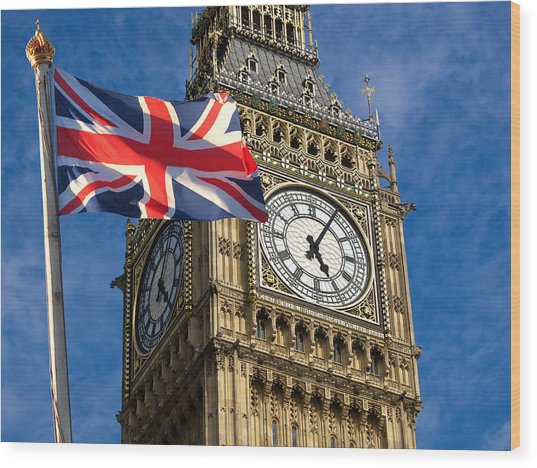 Big Ben And Union Jack Wood Print by Neven Milinkovic