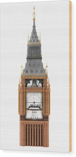 Big Ben Clock Tower And Mechanism Wood Print