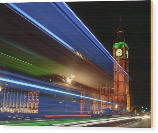 Big Ben Light Trails Wood Print by Ivelin Donchev