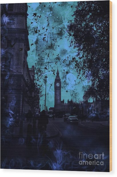 Big Ben Street Wood Print