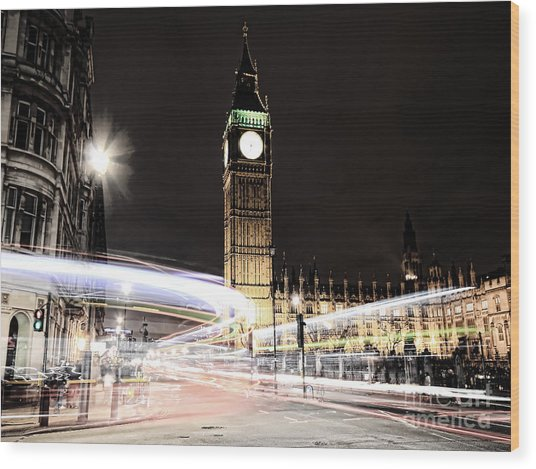 Big Ben With Light Trails Wood Print