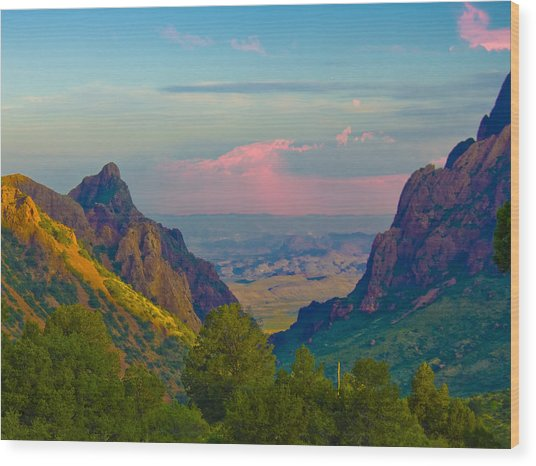 Big Bend Texas From The Chisos Mountain Lodge Wood Print